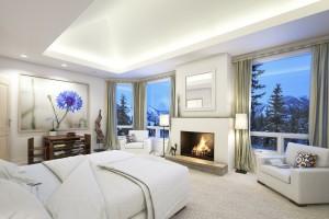 دانلود رندر اتاق خواب هتل شومینه آباژور تخت خواب پرده مبل مدل آماده رندر تری دی مکس وی ری | A7AI3507