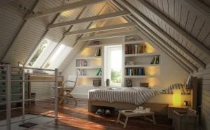 دانلود رندر اتاق خواب مدرن کتابخانه تختخواب سقف شیروانی کف پارکت مدل آماده رندر تری دی مکس وی ری | A7AI3509