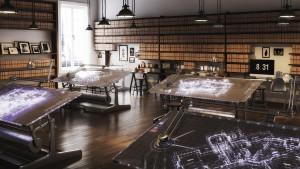 دانلود رندر شرکت طراحی آفیس طراحی میز مدرن طراحی کف پارکت مدل آماده رندر تری دی مکس وی ری | A7AI3603