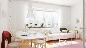 صحنه اتاق نشیمن مدرن میز غذاخوری کف پارکت گلدان | A7AI3703