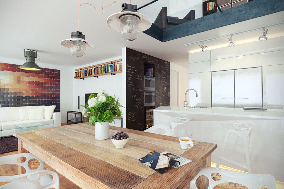 رندر آشپزخانه مدرن اتاق تلویزیون