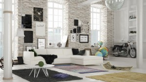 صحنه اتاق پذیرایی اتاق نشیمن مبل ال دیوار آجری فرش شگی تابلو | A7AI3710