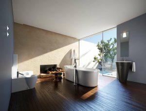 دانلود رندر حمام روشویی دستشویی مدرن شومینه مدل آماده رندر تری دی مکس وی ری | A7AI3907