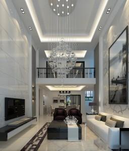 دانلود رندر خانه کامل اتاق پذیرایی اتاق نشیمن اتاق تلویزیون مدرن کف سرامیک سقف بلند مدل آماده رندر | A6Bin0101