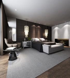 دانلود رندر اتاق خواب مدرن نورپردازی مدل آماده رندر | A6Bin0109