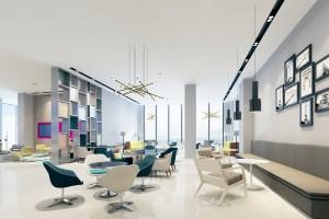 دانلود رندر کافی شاپ رستوران مدرن لابی هتل اتاق پذیرایی مدرن سه رندر مجزا مدل آماده رندر | A6Bin0113