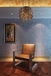 دانلود رندر اتاق مطالعه صندلی چرم فلزی نورپردازی شب کف پارکت مدل آماده رندر | A6Cinsa0102