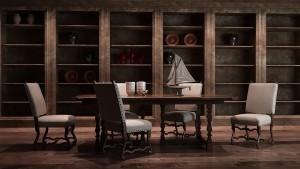 دانلود رندر موزه کتابخانه میز صندلی چوبی کشتی بادی تزئینی مدل آماده رندر | A6Cinsa0104