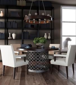 دانلود رندر کلاسیک اتاق چای خوری کتابخانه لوستر کف چوب گلدان فنجان چای مدل آماده رندر | A6Cinsa0203