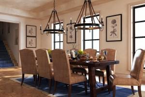 دانلود رندر اتاق غذاخوری کلاسیک میز صندلی کلاسیک چرمی چوبی میز غذا لوستر گلدان تابلو ظرف غذا میوه مدل آماده رندر | A6Cinsa0204