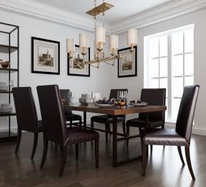 دانلود رندر رستوران کلاسیک آشپزخانه اتاق غذاخوری میز چوبی صندلی چرمی کف پارکت لوستر مدل آماده رندر | A6Cinsa0207