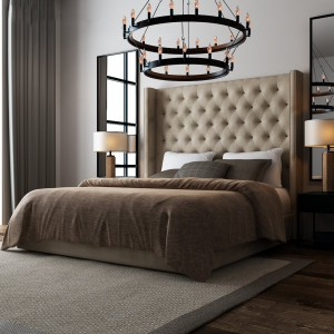 دانلود رندر اتاق خواب مدرن تختخواب چرم کوب آباژور آیینه قدی اتاق هتل کف پارکت موکت فرش لوستر مدل آماده رندر | A6Cinsa0301