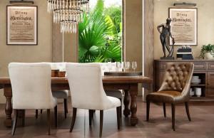 دانلود رندر رستوران کافی شاپ آشپزخانه کلاسیک میز چوبی صندلی چرم کوب لوستر شیشه ای کف کاشی سرامیک مدل آماده رندر | A6Cinsa0305