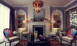 دانلود رندر خانه کامل اتاق نشیمن شومینه کتابخانه لوستر آباژور اتاق مطالعه کتابخانه صندلی چرمی آشپزخانه ناهارخوری مبل چرمی گرد چهار دوربین مجزا مدل آماده رندر | A6Cinsa0402
