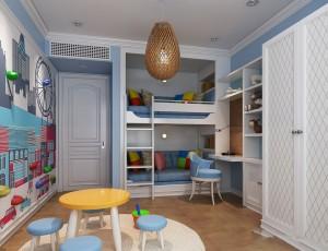 دانلود رندر اتاق کودک تخت کودک تختخواب کمد اسباب بازی میز کودک مدل آماده رندر | A6Cinsa0405