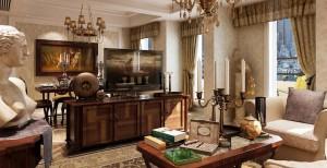 دانلود رندر اتاق نشیمن کلاسیک مجسمه فرش ایرانی مبل چرمی اتاق تلویزیون میز ناهارخوری چوبی جعبه سیگار برگ لوستر کلاسیک پرده کلاسیک مدل آماده رندر | A6Cinsa0406