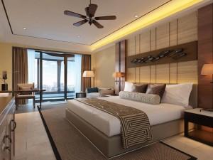 دانلود رندر اتاق هتل اتاق خواب کلاسیک چوبی پنکه کف کاشی سرامیک مدل آماده رندر | A6Cinsa0410