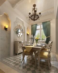 دانلود رندر آشپزخانه کلاسیک میز چوبی کف کاشی سرامیک لوستر میز نهارخوری گلدان آفتابگردان مدل آماده رندر | A6Cinsa0502