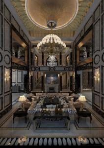 دانلود رندر لابی هتل کلاسیک لوستر بزرگ کلاسیک شومینه کف کاشی سرامیک سقف گچبری مدل آماده رندر | A6Cinsa0503