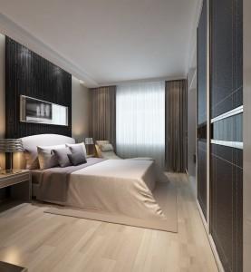 دانلود رندر اتاق هتل اتاق خواب تختخواب آباژور پرده ساده کمد کف پارکت مدل آماده رندر | A6Cinsa0504