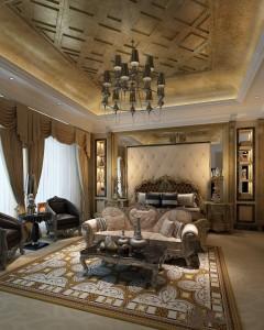 دانلود رندر اتاق هتل کلاسیک اتاق خواب کلاسیک اتاق نشیمن هتل آباژور کلاسیک فرش مبل کلاسیک مدل آماده رندر | A6Cinsa0505