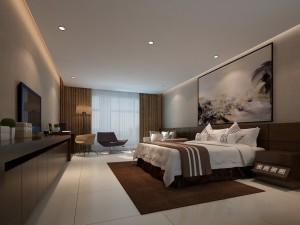 دانلود رندر اتاق هتل اتاق خواب آباژور تخت بالش روتختی پتو کف کاشی سرامیک مدل آماده رندر | A6Cinsa0509