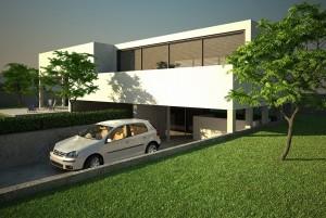 صحنه ویلا حیاط شمشاد چمن درخت غروب ماشین اتومبیل مدل آماده رندر | ZA6AE0101