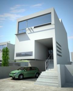صحنه خانه حیاط نمای ساختمان ماشین مدل آماده رندر | ZA6AE0103