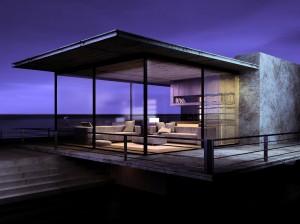 صحنه ویلا شب تراس بالکن فضای آزاد اتاق نشیمن مدل آماده رندر | ZA6AE0104