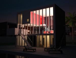 صحنه ساختمان خانه ویلا دوبلکس استخر روباز شب مدل آماده رندر | ZA6AE0106