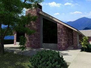 صحنه نمای ساختمان سنگی حیاط چمن درخت سقف شیروانی مدل آماده رندر | ZA6AE0107