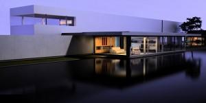 صحنه ویلا استخر روباز اتاق نشیمن مدل آماده رندر | ZA6AE0108