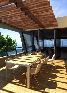 صحنه حیاط ویلا میز صندلی کف چوب مدل آماده رندر | ZA6AE0206