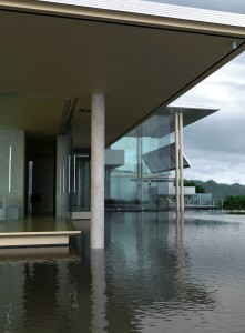 صحنه ساختمان درون دریاچه ستون بلند هوای بارانی مدل آماده رندر | ZA6AE0207