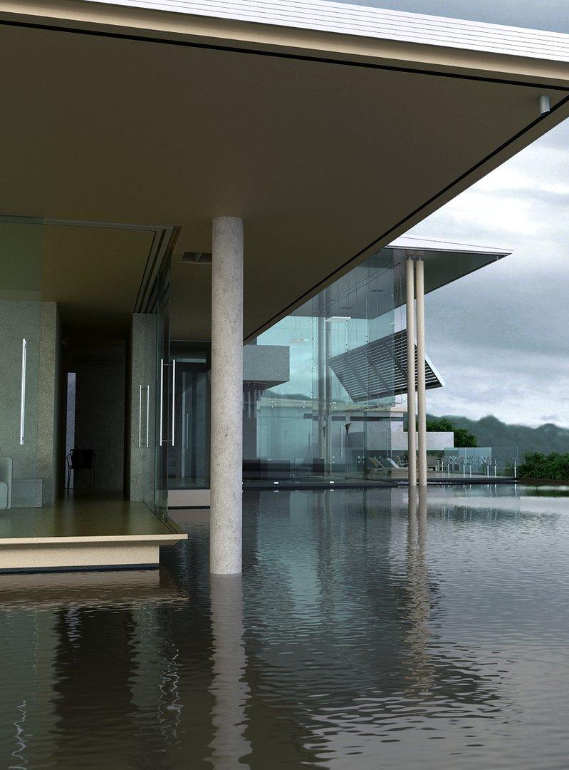 رندر ساختمان درون دریاچه