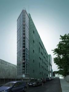 صحنه خیابان ساختمان شیشه ای بلند کف آسفالت پیاده رو پارکینگ ماشین اتومبیل مدل آماده رندر | ZA6AE0301