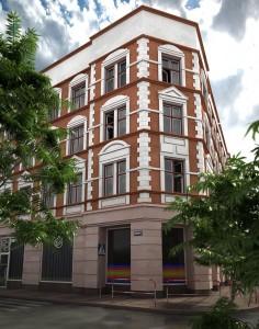 صحنه نمای ساختمان مسکونی شهری پیاده رو آسفالت خیابان مدل آماده رندر | ZA6AE0401