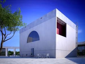 صحنه ساختمان بتونی سیمانی مکعب کف موزائیک مدل آماده رندر | ZA6AE0404
