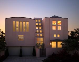 صحنه ساختمان ویلا خانه منزل مسکونی حیاط پارکینگ غروب مدل آماده رندر | ZA6AE0405