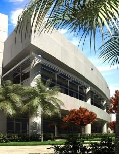 صحنه ساختمان شرکت تجاری نما سیمان بتون لندسکیپ درخت نخل چمن مدل آماده رندر | ZA6AE0406