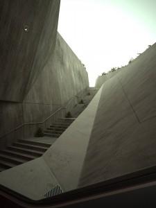 صحنه راه پله سیمانی بتونی مدل آماده رندر | ZA6AE0408