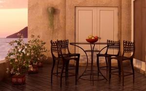 صحنه تراس بالکن ویلا صندلی چوبی نشیمن مدل آماده رندر | ZA6AE0409