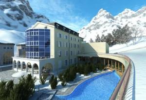 صحنه هتل برفی کوهستان استخر روباز مدل آماده رندر | ZA6AE0505