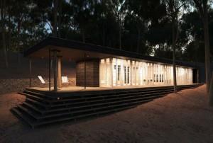 صحنه ویلا چوبی وسط جنگل درخت شب مدل آماده رندر | ZA6AE0506