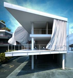 صحنه فانتزی ویلا شهر باد پرده کف آسفالت مدل آماده رندر | ZA6AE0509