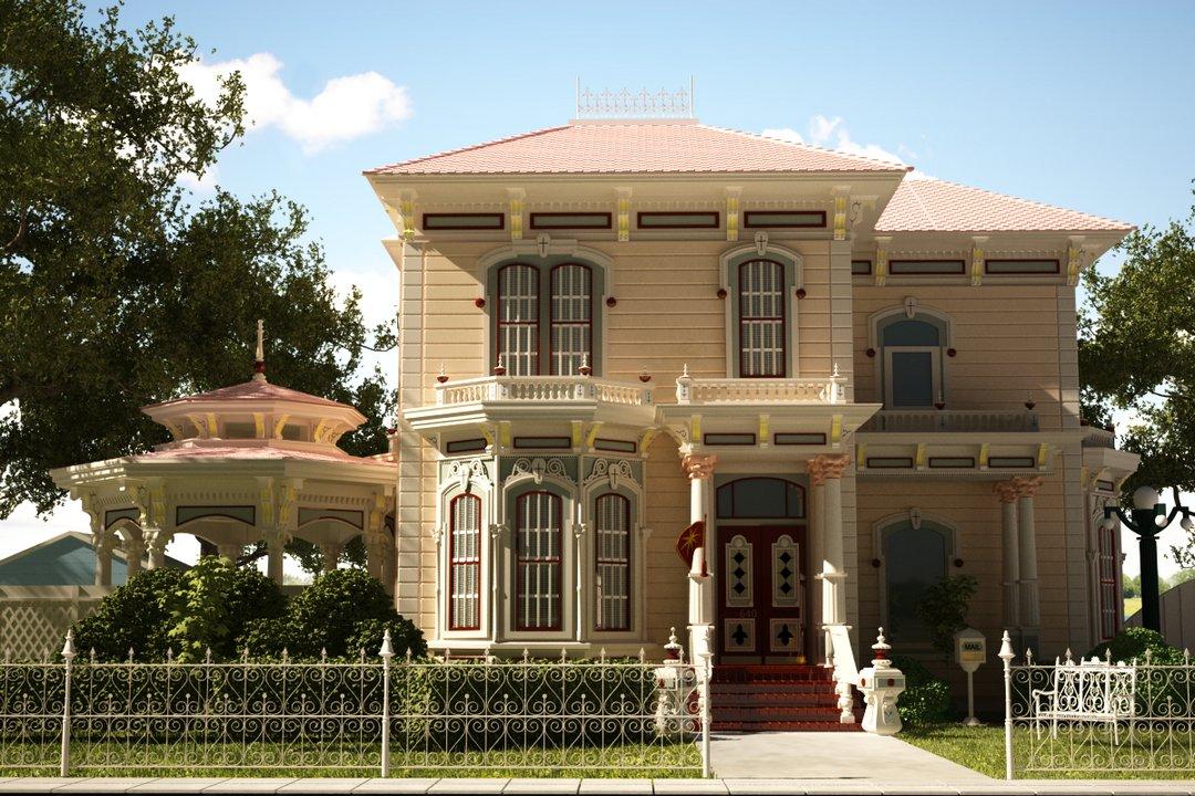رندر نما کلاسیک ساختمان