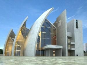 صحنه ساختمان منحنی خاص شرکت مدل آماده رندر | ZA6AE0704