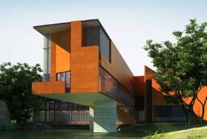 صحنه ساختمان ویلا نما سرامیک کنار رودخانه چمن درخت مدل آماده رندر | ZA6AE0706