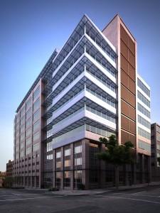صحنه ساختمان تجاری شهری نما شیشه کامپوزیت آسفالت پیاده رو مدل آماده رندر | ZA6AE0802