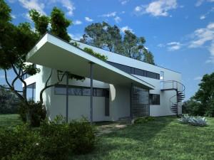 صحنه خانه ویلا جنگل درخت مدل آماده رندر | ZA6AE0804